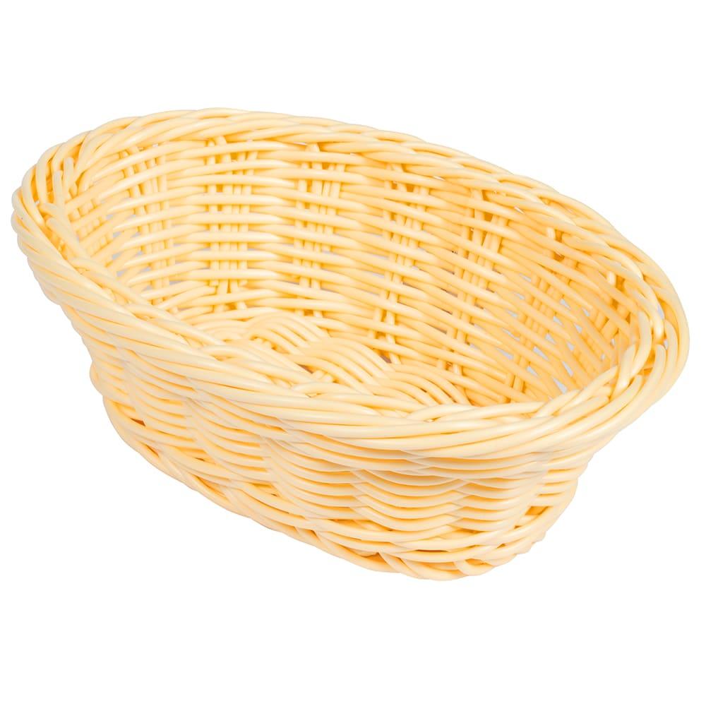 "GET WB-1504-N Oval Bread & Bun Basket, 9"" x 6.75"", Polypropylene, Natural"