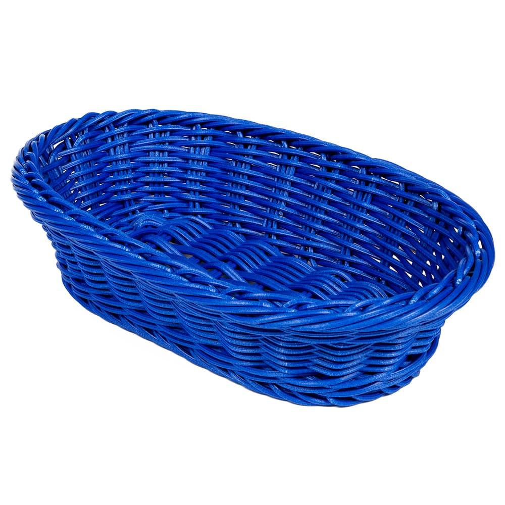 "GET WB-1505-BL Oval Bread & Bun Basket, 11.75"" x 8"", Polypropylene, Blue"