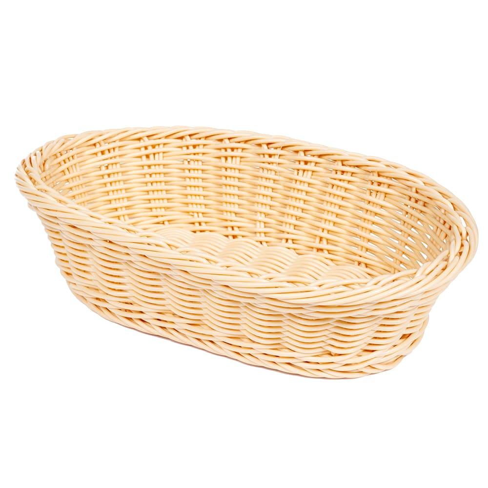 "GET WB-1505-N Oval Bread & Bun Basket, 11.75"" x 8"", Polypropylene, Natural"