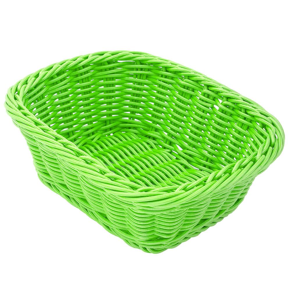 "GET WB-1506-G Oval Bread & Bun Basket, 9.5"" x 7.75"", Polypropylene, Green"