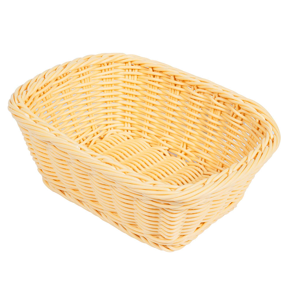 "GET WB-1506-N Oval Bread & Bun Basket, 9.5"" x 7.75"", Polypropylene, Pink"