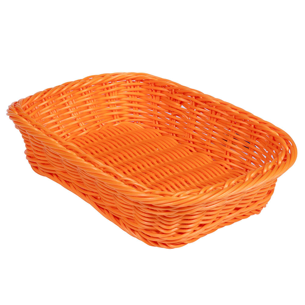 "GET WB-1508-OR Rectangular Bread & Bun Basket, 11.5"" x 8.5"", Polypropylene, Orange"