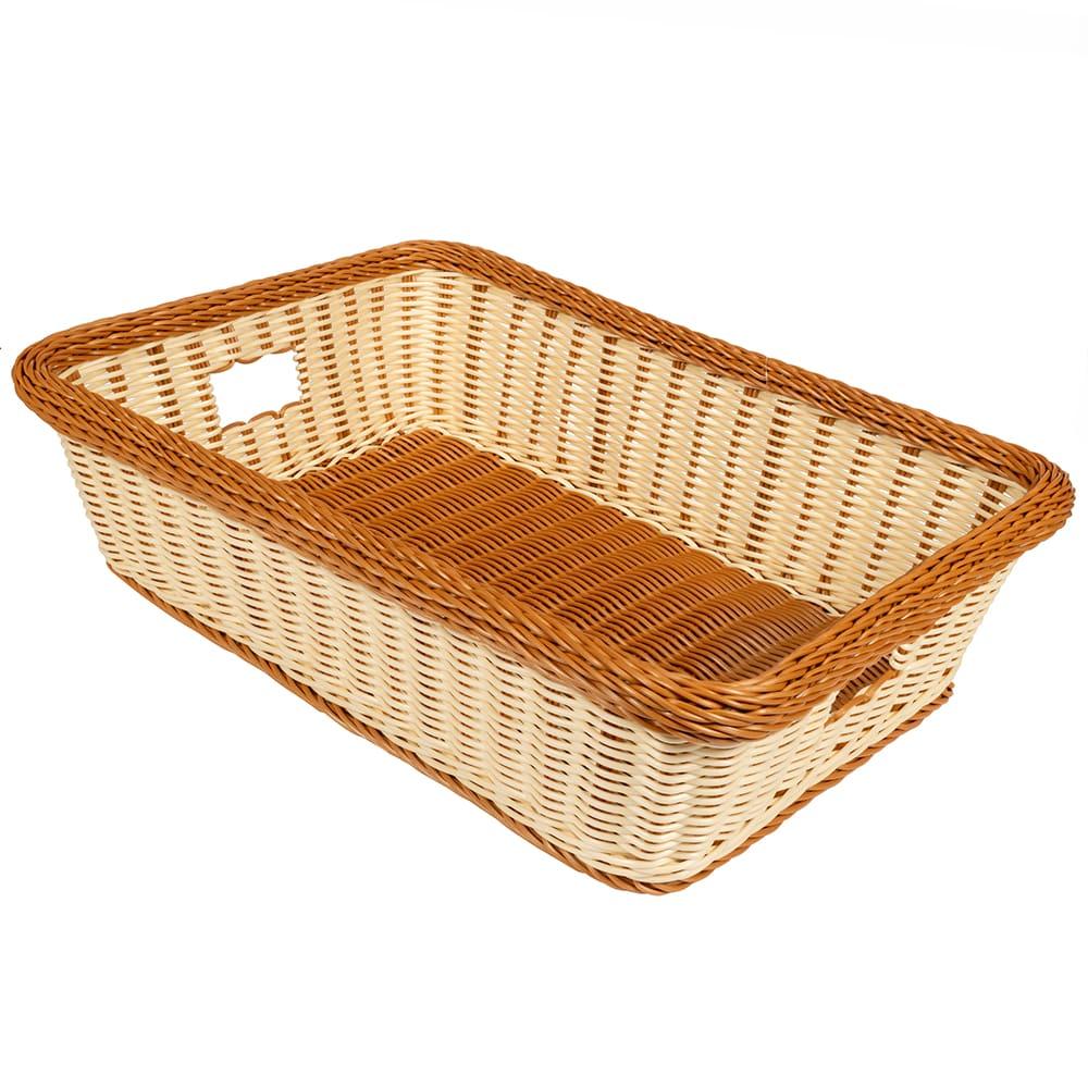 "GET WB-1516-TT Rectangular Bread & Bun Basket, 22"" x 15.5"", Polypropylene, Two-Tone"