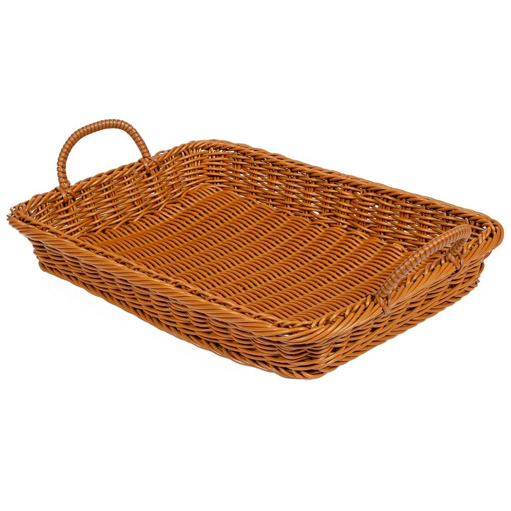 "GET WB-1524-HY Rectangular Bread & Bun Basket, 18"" x 12.25"", Polypropylene, Honey"
