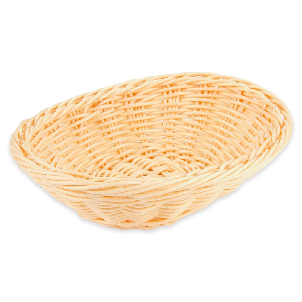 "GET WB-1550-N Oval Bread & Bun Basket, 7.25"" x 5.75"", Polypropylene, Natural"