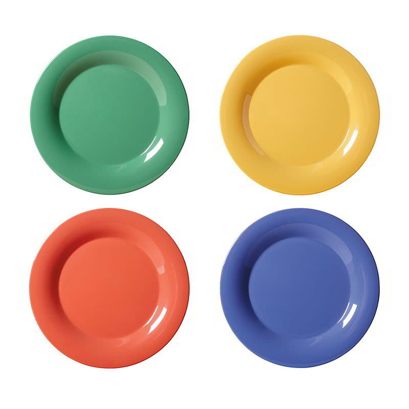 "GET WP-12-MIX (4) 12"" Round Dinner Plate, Melamine, Multi-Colored"