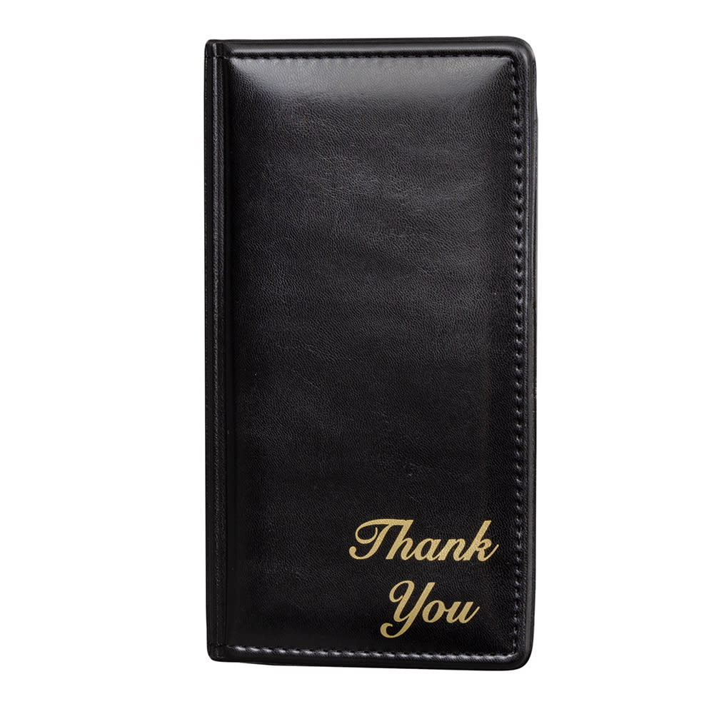 "Risch 5000P Double-Panel Guest Check Holder - 5"" x 9"", Padded Vinyl, Black"