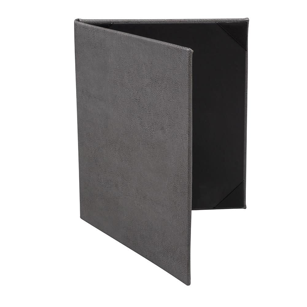 risch tam 2v double fold menu cover 8 5 x 11 soft leather gray