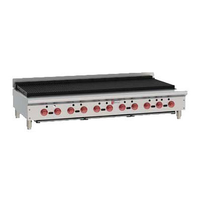 "Wolf ACB60 62.13"" Gas Charbroiler w/ (11) Burners & Cast Iron Grates - Manual, LP"