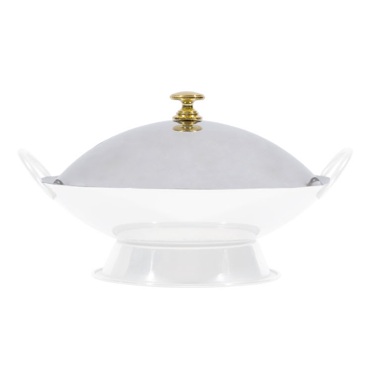 "Town 25108C Wok Serving Dish Cover Only for 8"" Serving Dish, Brass Knob, Stainless"