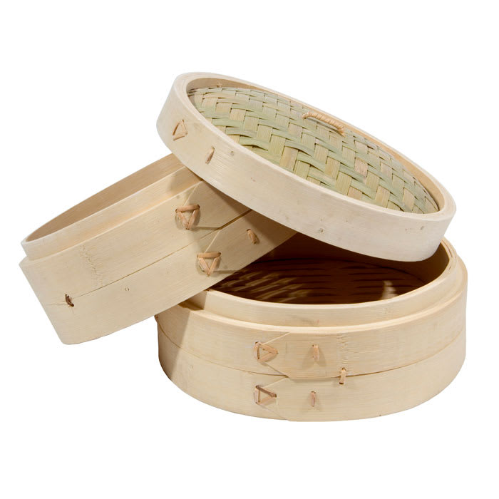 Town 34208 Bamboo Steamer Set, Includes 2 Steamers, 1 Cover, 8 in