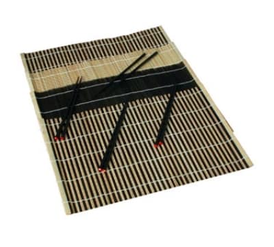 Town 34254 (4) Placemat & Chopstick - 12x18, Black and Natural Bamboo