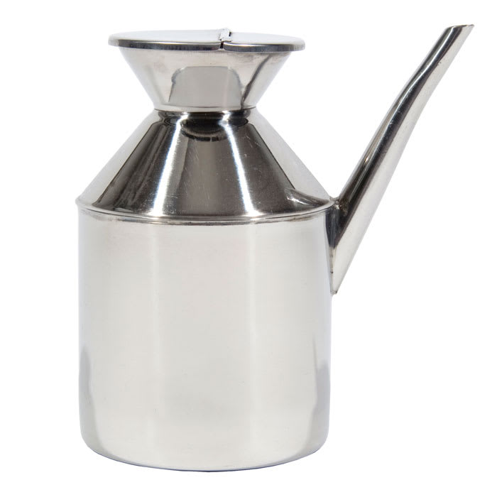 Town 37596 48 oz Soy Sauce Dispenser, With Handle, Hinged Cover, Stainless