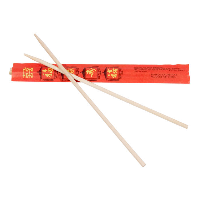 "Town 51311 9-3/4""Wooden Bamboo Chopsticks, Connected At The Top, Individually Wrapped"