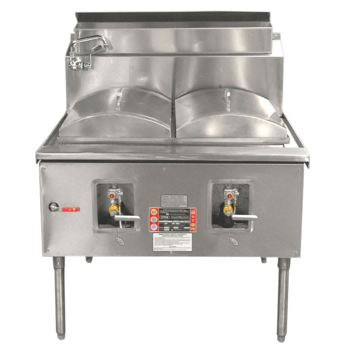 "Town CF-2 LP Cheung Fun Noodle Range, Gas, 2 Two Ring Burner, Manual Fill Faucet, 43""LP"