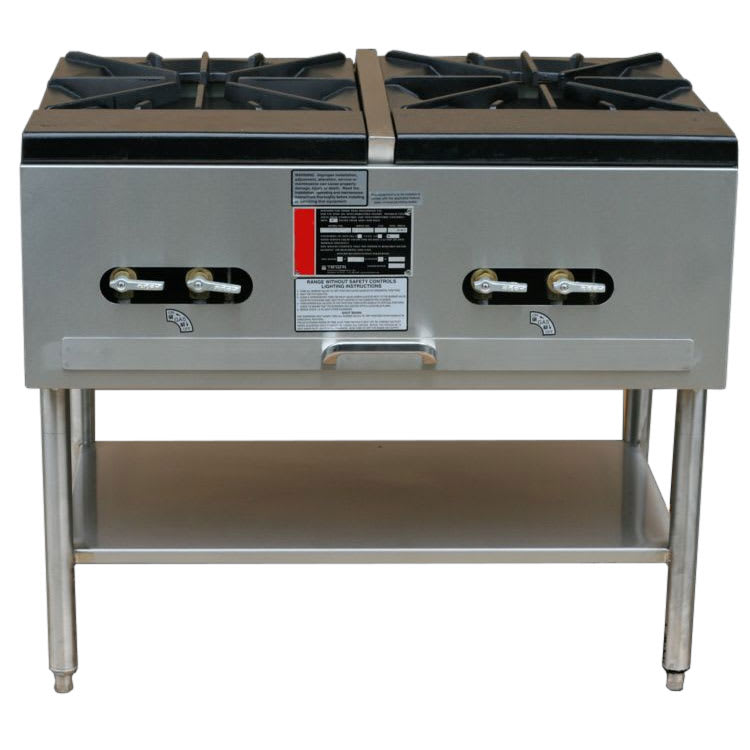 Town SR-24-G-2X-SS 2-Burner Stock Pot Range, LP