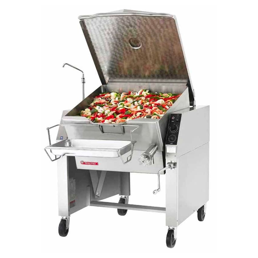 Market Forge 40PSTEL Tilting Skillet, Electric, 40 gal. Capacity, Open Leg Frame Base