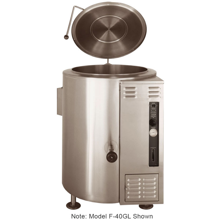 Market Forge F-20GL Kettle, 20 Gallon Capacity, w/ Floor Mounted Control Console Supports, NG