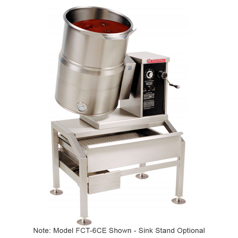 Market Forge FCT-12CE 2401 12-gal Tabletop Kettle, Tilt-Type w/ Hand Crank, Full Steam Jacket, 240/1 V