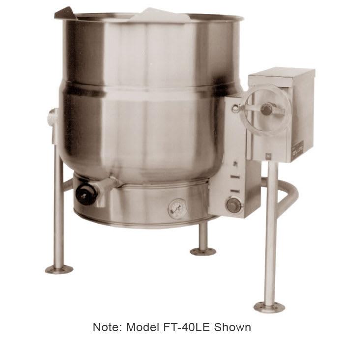 Market Forge FT-20LE 2083 20-gal Tilting Kettle, 2/3- Steam Jacket & Open Leg Base, Stainless, 208/3 V
