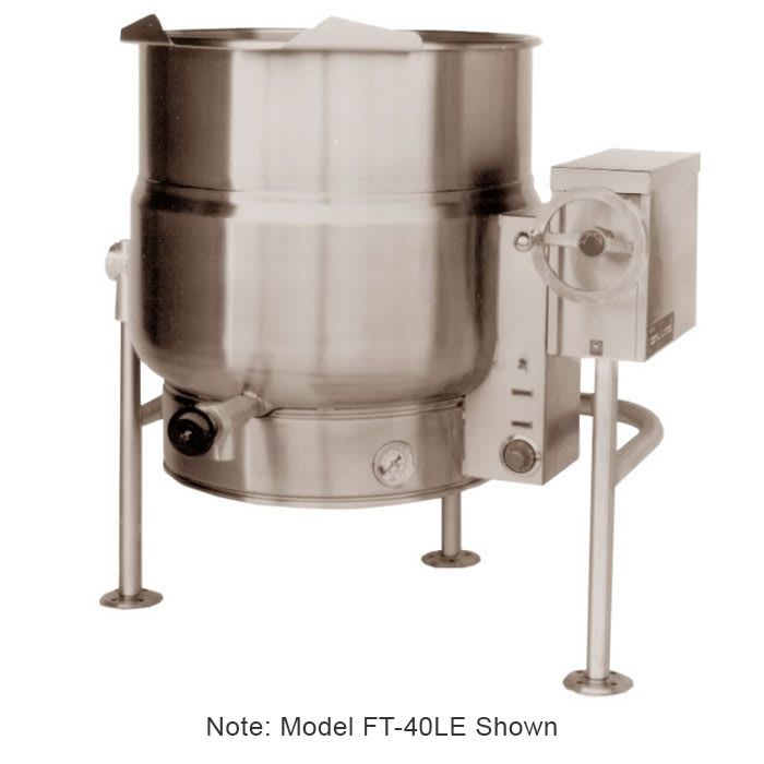 Market Forge FT-20LE 2401 20-gal Tilting Kettle, 2/3- Steam Jacket & Open Leg Base, Stainless, 240/1 V