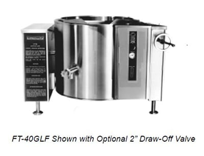 Market Forge FT-40GLF 40 gal Tilting Kettle, Full Steam Jacket Design & Open Leg Base, Stainless