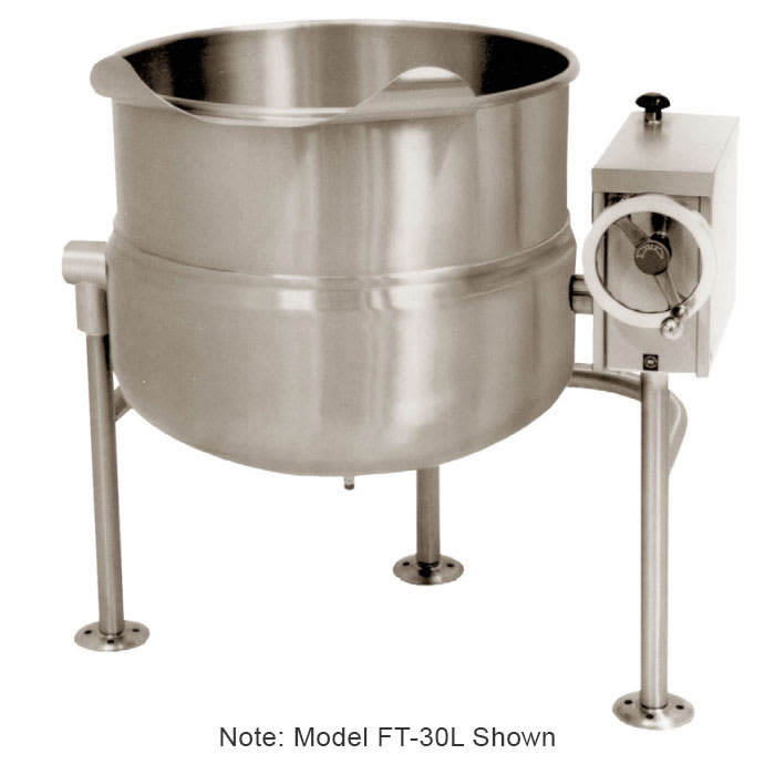 Market Forge FT-40L 40-gal Tilting Kettle, Direct Steam, 2/3-Steam Jacket Design & Open Leg Base