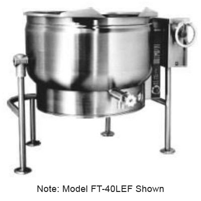 Market Forge FT-40LEF 2203 40-gal Tilting Kettle, 2/3-Steam Jacket Design & Open Tri-Leg Base, 220/3 V