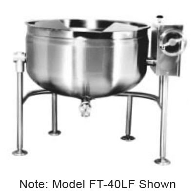 Market Forge FT-40LF 40-gal Tilting Kettle, Full Steam Jacket Design & Open Tri-Leg Base