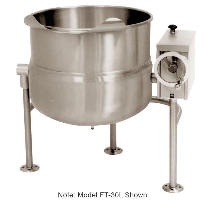 Market Forge FT-60L 60-gal Tilting Kettle, Direct Steam, 2/3-Steam Jacket Design & Open Tri-Leg Base