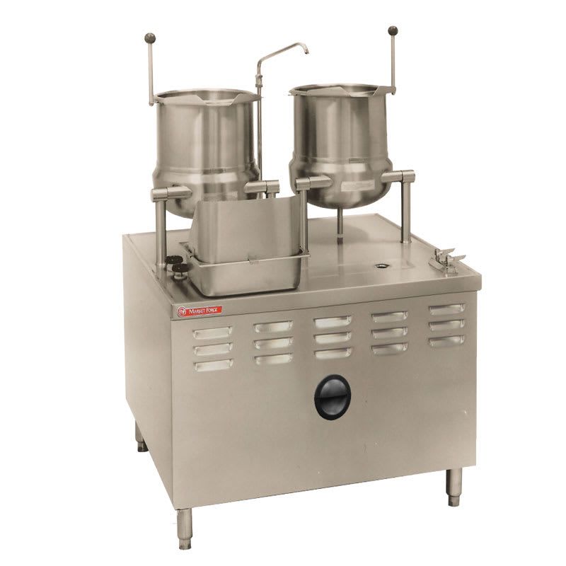Market Forge MT10T10 Tilting Kettle,(2) 10-gal, Direct Steam, 2/3 Steam Jacket Design, Modular Base