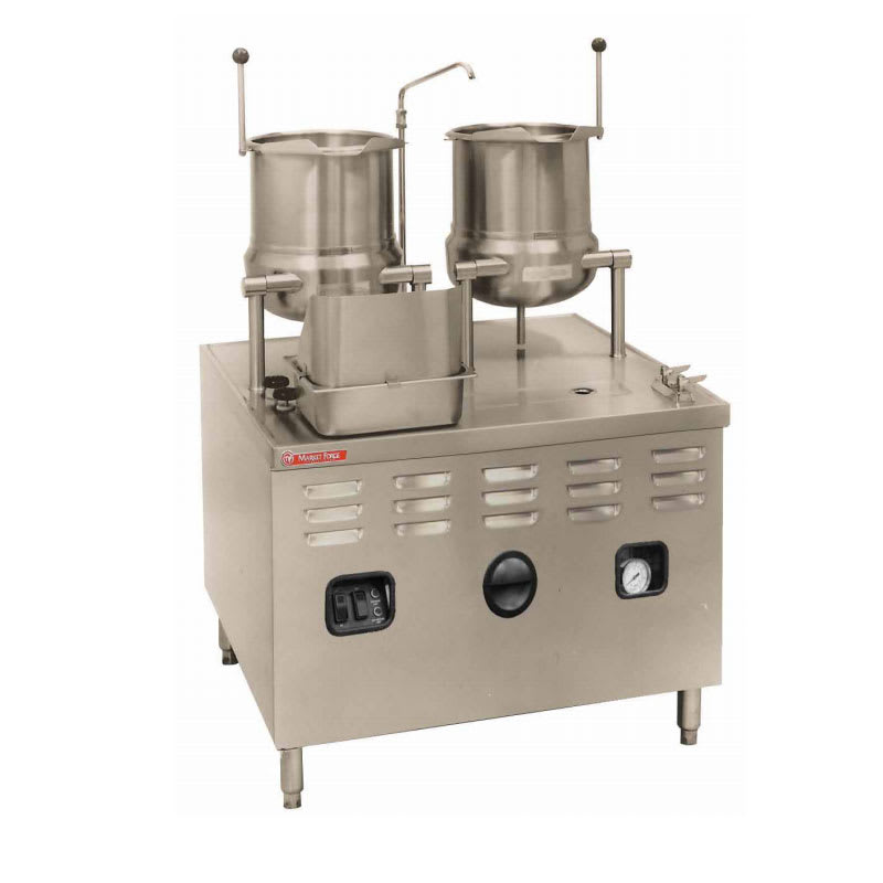 "Market Forge MT10T10E24A 2083 Tilting Kettle, (2) 10-gal, w/ 36"" Base & 24-kw Steam Generator, 208/3 V"