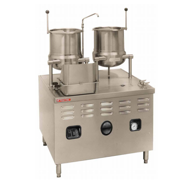 """Market Forge MT10T6E42/48A 2083 2-Tilting Kettles w/ 36"""" Base & 48-kw Steam Generator, Stainless, 208/3 V"""