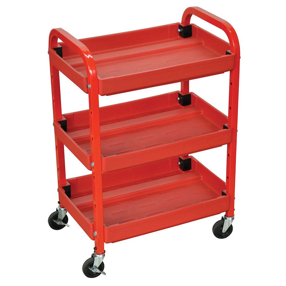 Luxor Furniture ATC332 3-Level Mechanics Utility Cart - Metal Frame, Plastic Shelves, Red