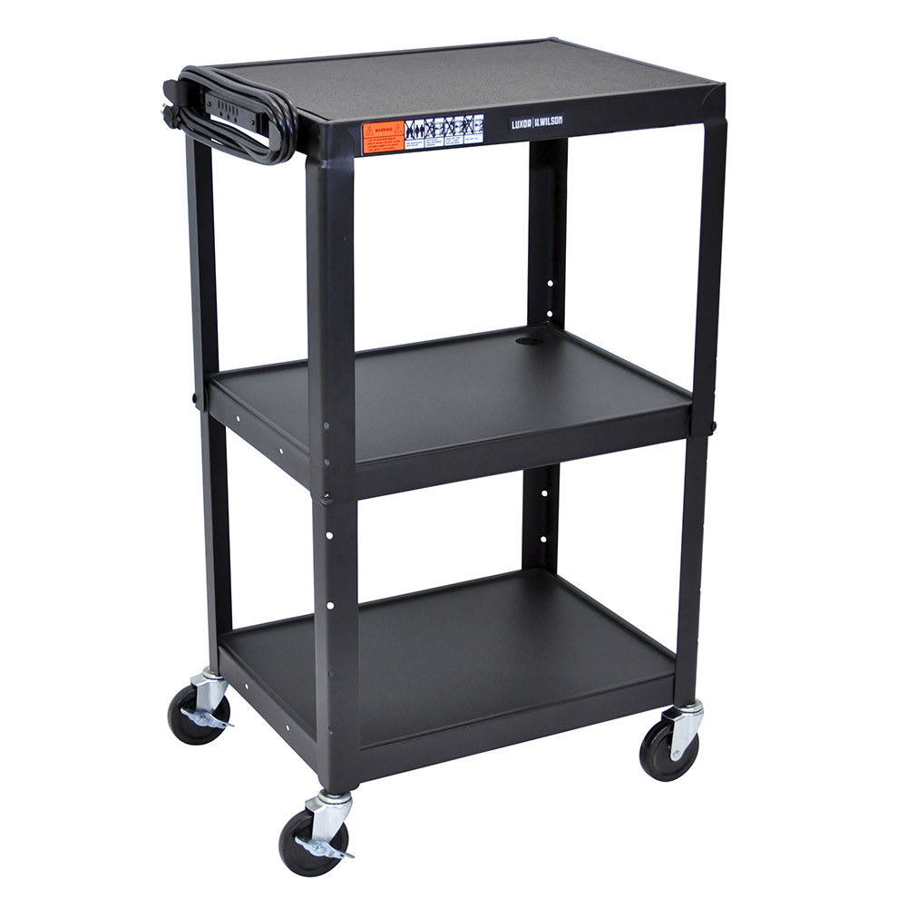 Luxor Furniture AVJ42 3 Level Media Cart w/ 15 ft Cord
