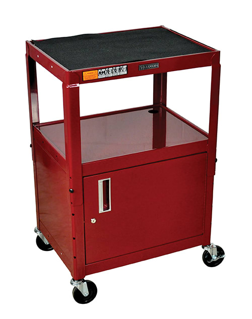 Luxor Furniture AVJ42C-BY Utility Cart w/ Locking Cabinet, Adjusts to 42-in, 24 x 18-in, Burgundy