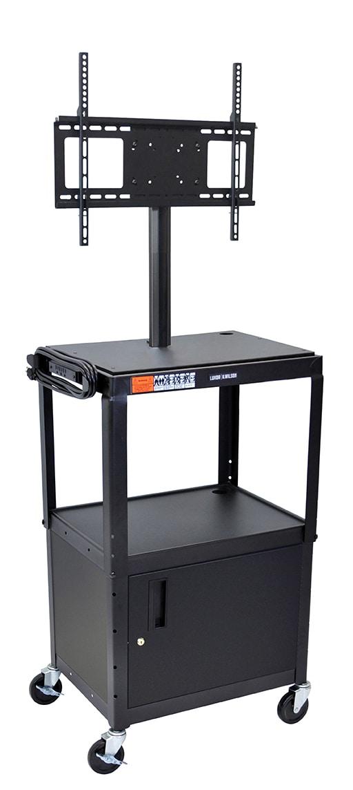 """Luxor Furniture AVJ42C-LCD Metal Cart w/ 46"""" Flat Panel Display Mount & Locking Cabinet, Black"""