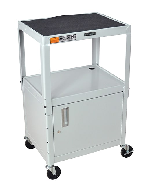 Luxor Furniture AVJ42C-LG Utility Cart w/ Locking Cabinet, Adjusts to 42-in, 24 x 18-in, Light Gray