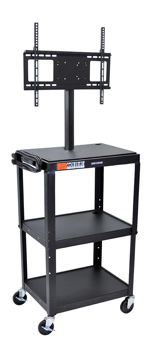 "Luxor Furniture AVJ42-LCD Metal Cart w/ 46"" Flat Panel Display Mount, Adjusts to 42"", Black"