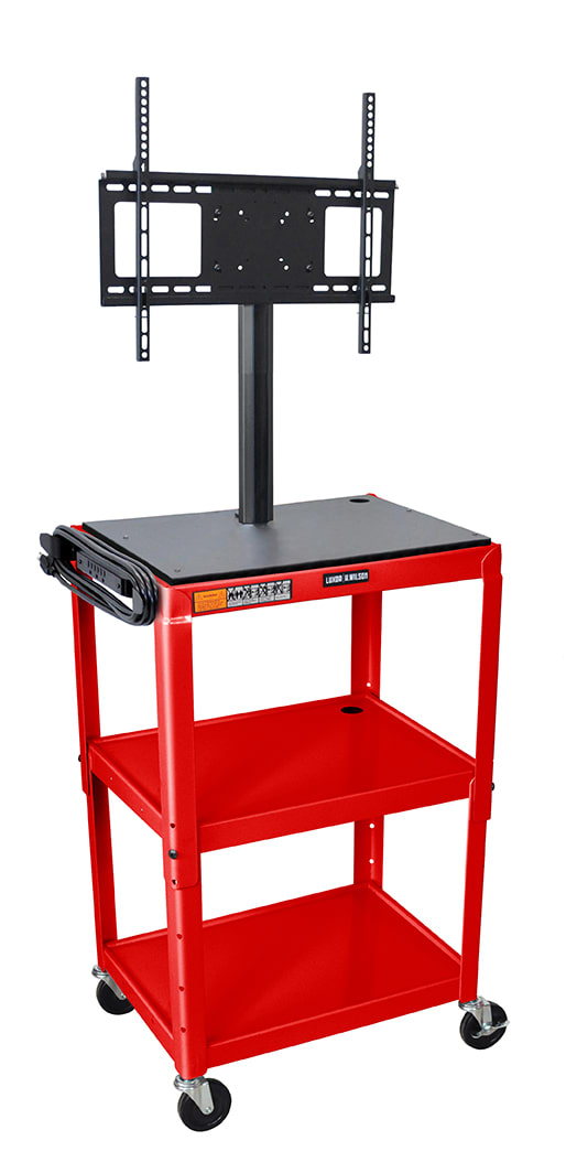 "Luxor Furniture AVJ42-LCD-RD Metal Cart w/ 46"" Flat Panel Display Mount, Adjusts to 42"", Red"