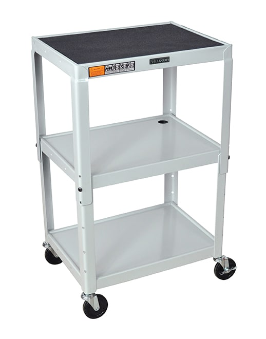 Luxor Furniture AVJ42-LG Utility Cart w/ Locking Brakes, Adjusts to 42-in, 24 x 18-in, Light Gray