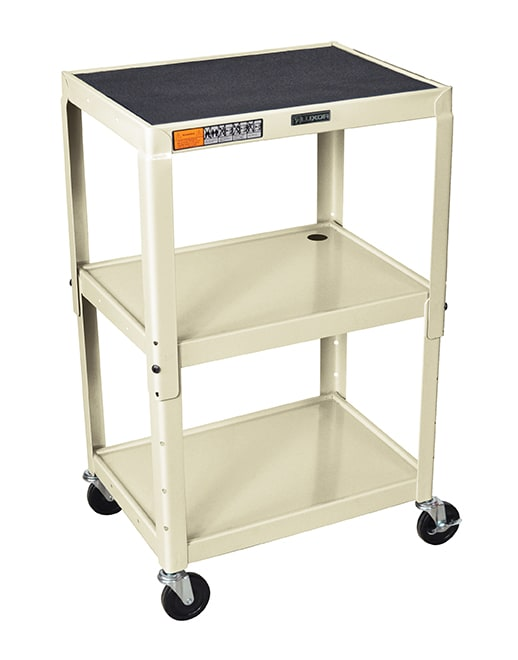 "Luxor Furniture AVJ42-OW Utility Cart w/ Locking Brakes, Adjusts to 42"", 24 x 18"", Putty"