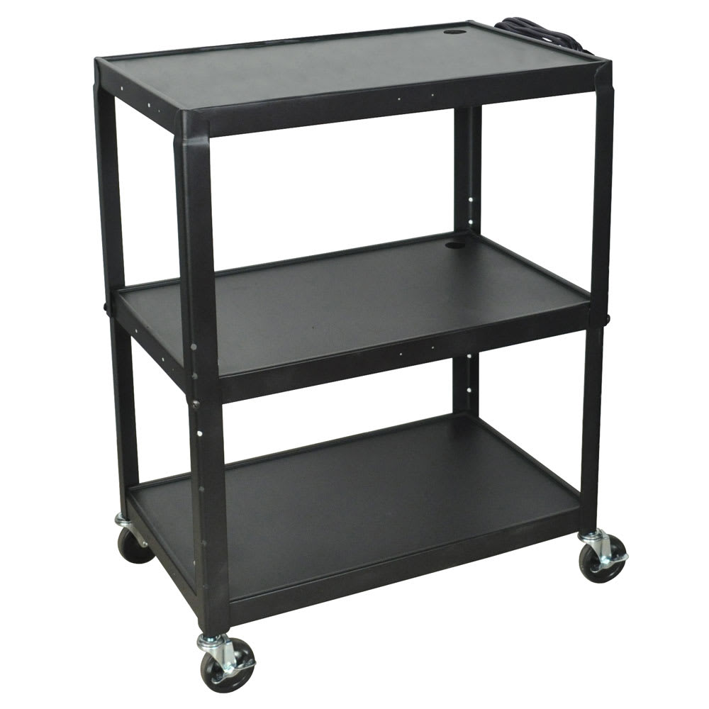 Luxor Furniture AVJ42XL 3-Level Media Cart w/ 15-ft Cord
