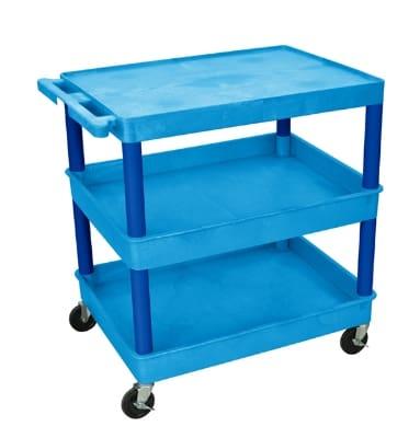 Luxor Furniture BUTC211BU Multipurpose Cart w/ 2-Tubs & Flat Shelf, 32x24x36.5-in, Polyethylene, Blue