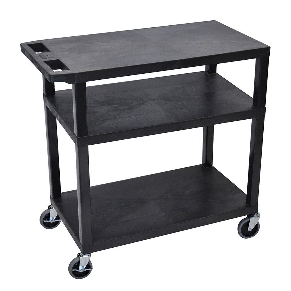 "Luxor Furniture EA34-B 34"" 3 Level Presentation Cart w/ 300 lb Capacity - Plastic, Black"