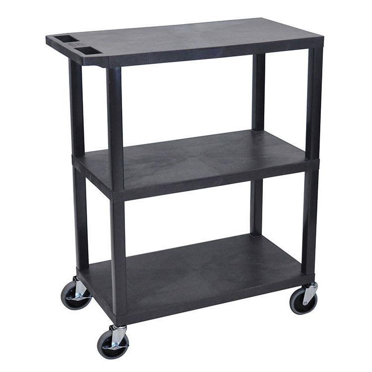 "Luxor Furniture EA42-B 42"" 3 Level Presentation Cart w/ 300 lb Capacity - Plastic, Black"