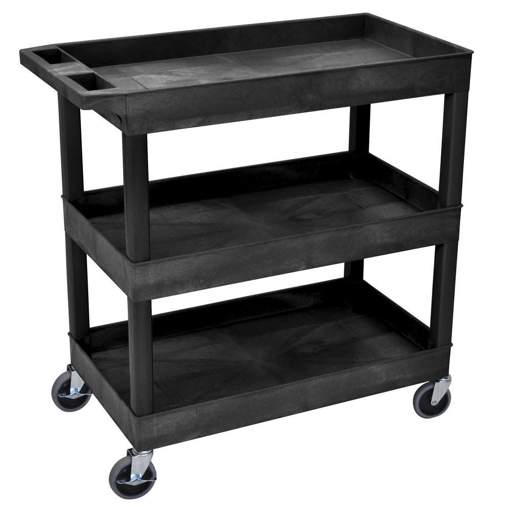 Luxor Furniture EC111-B 3 Level Polymer Utility Cart w/ 400 lb Capacity, Raised Ledges