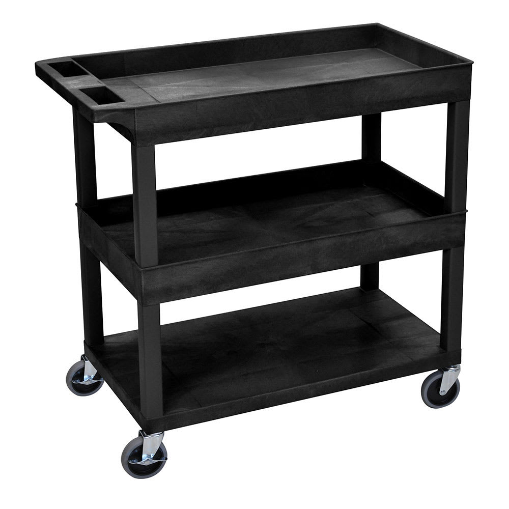 Luxor Furniture EC112-B 3 Level Polymer Utility Cart w/ 400 lb Capacity - Raised Ledges, Black
