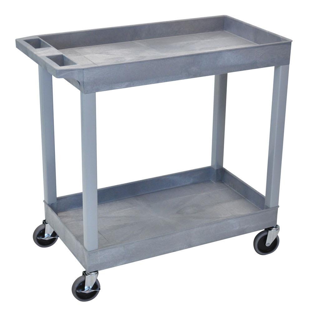 Luxor Furniture EC11-G 2-Level Polymer Utility Cart w/ 400-lb Capacity, Raised Ledges