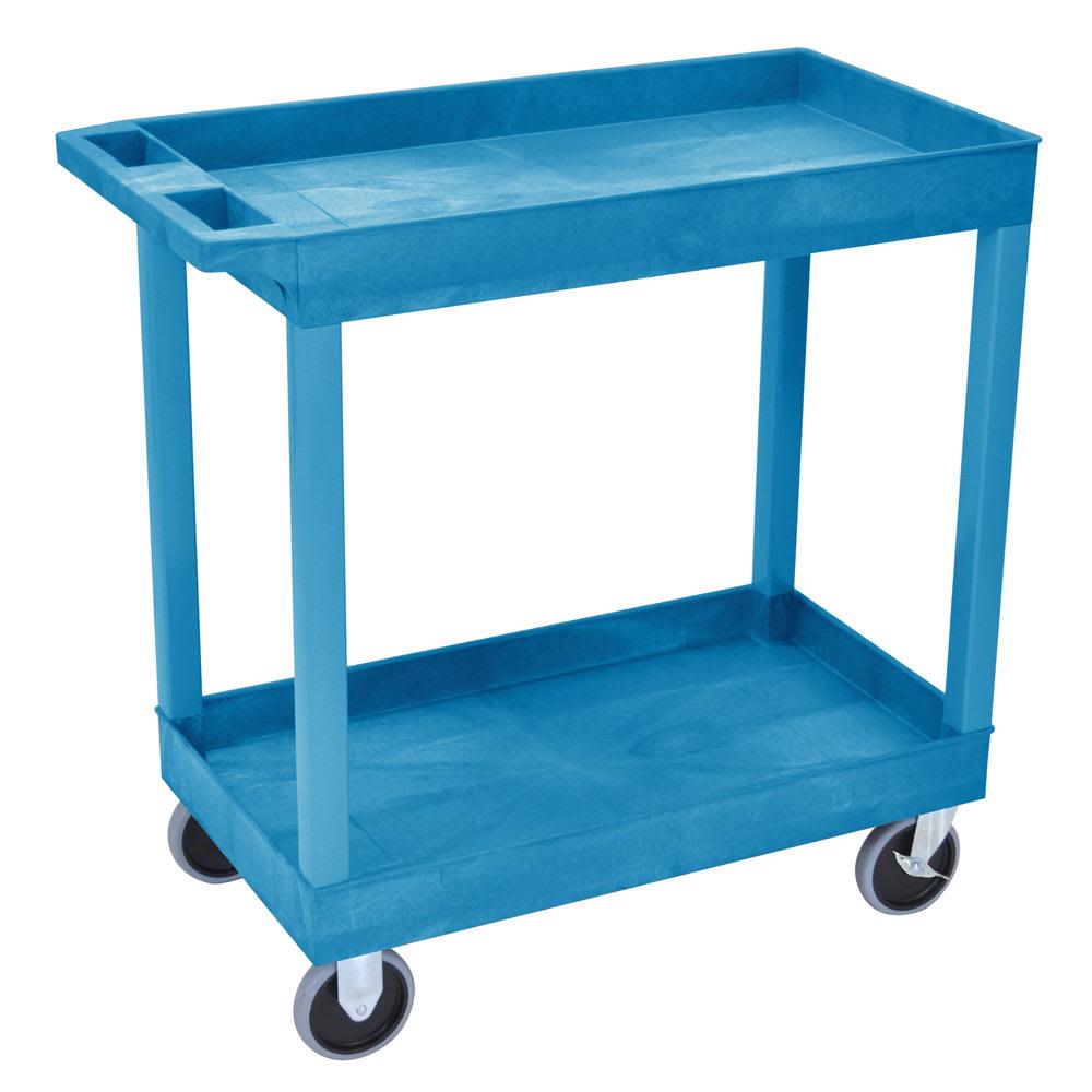Luxor Furniture EC11HD-BU 2-Level Polymer Utility Cart w/ 500-lb Capacity, Raised Ledges